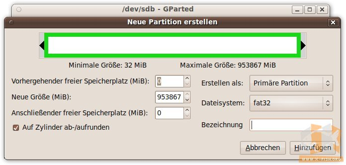 gparted: Partition erstellen