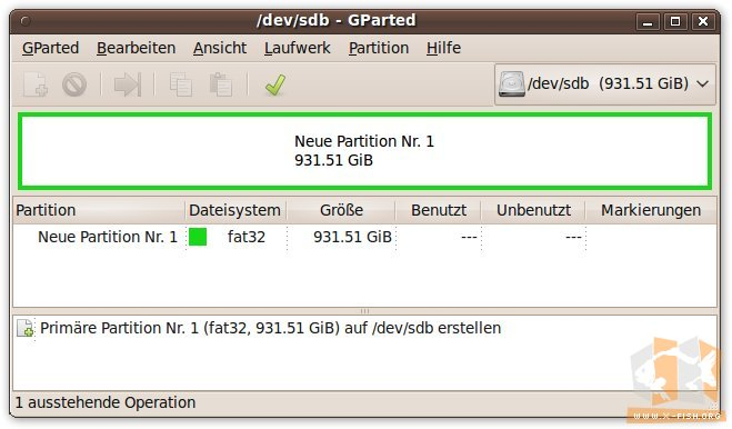 gparted: Festplatte mit geplanter Partition