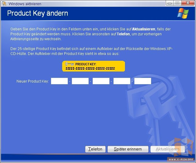 Product Key ändern