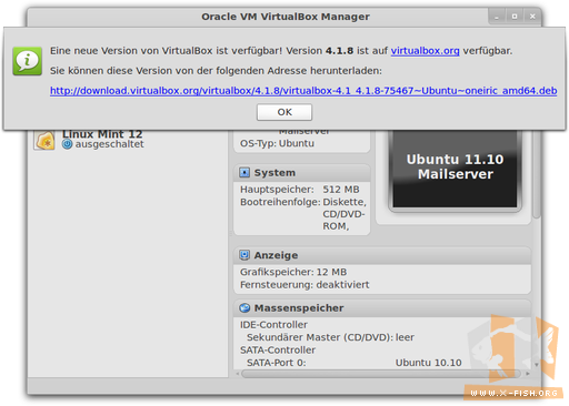 Updateinformation von VirtualBox