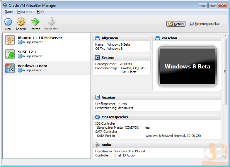 VirtualBox: Menüeintrag für Windows 8 CP