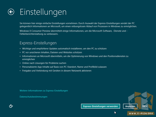 Windows 8 CP: Express-Einstellungen