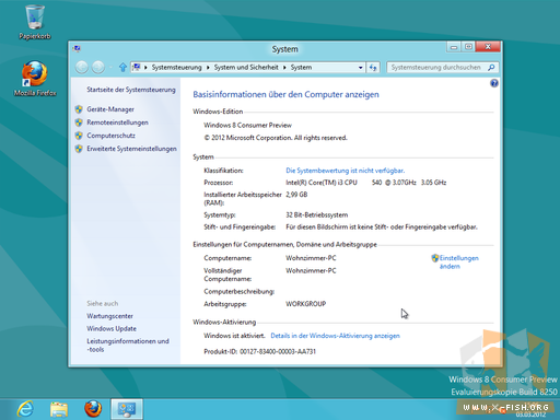 Windows 8 CP: Systeminformationen