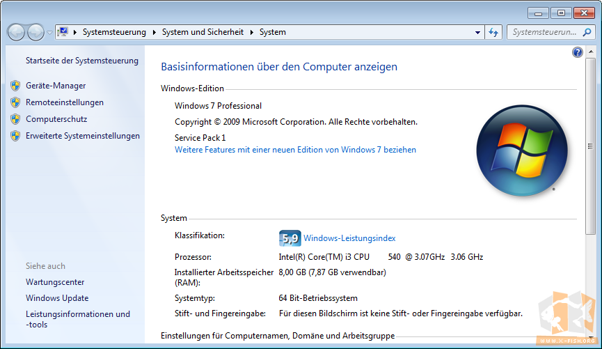 Systeminformationen (Windows 7 64 bit)