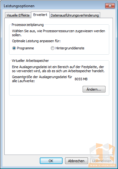 Windows 7: Dialog »Leistungsoptionen«